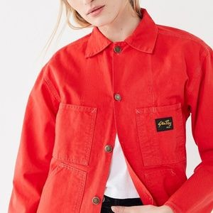 NEW Stan Ray button front shop coat red orange S